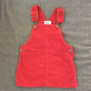Red Corduroy Overall Dress 18mo.